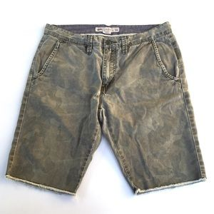 Vans Mens Camo Shorts Raw Hem 100% Cotton Zipper